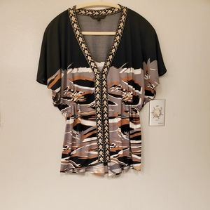 Bcbgmaxazria tribal print top